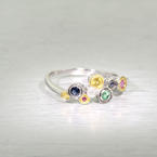 Dazzling Ladies 18K White Gold Diamond Gemstone Ring