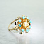 Stunning Ladies Estate 14K Yellow Gold Turquoise Pearl Crown Style Ring