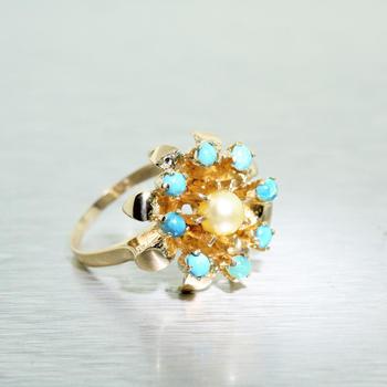 Stunning Ladies Estate 14K Yellow Gold Turquoise Pearl Crown Style Ring