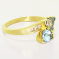 Glamorous Ladies Vintage 10K Yellow Gold Blue Topaz Round Diamond Ring