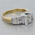 Gorgeous Vintage Estate 14K Two Tone Yellow White Gold Diamond Ring
