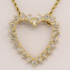 14K Yellow Gold Diamond Heart Pendant on 14K Yellow Gold Rope Chain