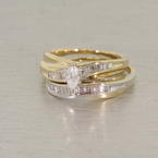 Wonderful Two Toned 14K Gold Diamond Wedding Set
