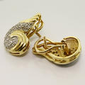 Unique Stunning Solid 18K Yellow Gold Diamond Vintage Earrings