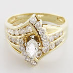 Marvelous Diamond Engagement Ring 14K Yellow Gold