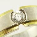 Striking Men's 14K White Yellow Gold Diamond Ring