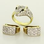 Amazing 14K Yellow Gold Cougar Ring Matching Earrings Jewelry Set