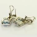 Magnificent Blue Topaz 14K White Gold Diamond Encrusted Earrings