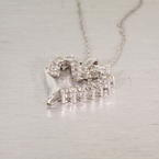 "Lovely 10K White Gold Round Diamond Heart Vintage Pendant & 18"" Necklace"