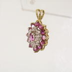 Spectacular 10K Yellow Gold Victorian Diamond Tourmaline Yellow Gold Pendant