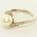 Vintage Estate 14K White Gold Pearl Diamond Ring Jewelry