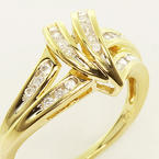 Vintage Estate 10K Yellow Gold Diamond Cluster Cocktail Ring Jewelry
