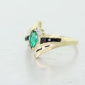 Stunning Ladies Vintage 14K Yellow Gold Emerald Diamond Estate Ring