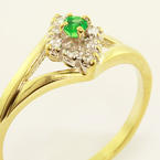 Vintage Estate Ladies 10K Yellow Gold Emerald Diamond Cocktail Ring Jewelry