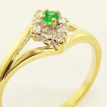 Vintage Estate Ladies 10K Yellow Gold Emerald Diamond Cocktail Ring Jewelry