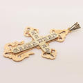 Unique Vintage 14K Rose White Gold Diamond Cross
