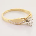 Lovely Marquise Diamond 14K Yellow White Gold Vintage Solitaire Engagement Ring