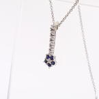 Spectacular Diamond Blues Sapphire Flower 14K White Gold Pendant Necklace