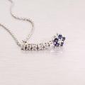 Spectacular Diamond Blues Sapphire Flower 14K White Gold Pendant Necklace