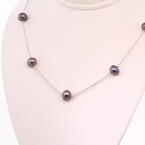 "Marvelous Freshwater Pearl Chain 14K White Gold 16"" Necklace"