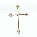 Magnificent 14K Yellow Gold Cubic Zirconia Cross Pendant