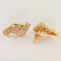 Unique Estate Diamond 14K Yellow Gold Diamond Stud Earring Jewelry Pair