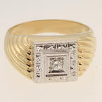 Handsome Mens Vintage Estate 10K Yellow White Gold Diamond Ring