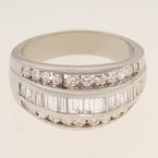 Spectacular Unisex Platinum Round And Baguette Diamond Wedding Band Ring