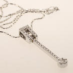 Exquisite 14K White Gold Estate Dangling Diamond Pendant Necklace