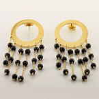 Stunning Ladies 18K Yellow Gold Onyx Stud Dangling Pair Earrings
