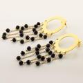 Stunning Ladies 18K Yellow Gold Onyx Stud Dangling Pair Earrings