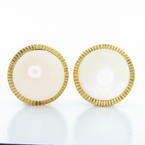 Elegant Ladies 10K Yellow Gold White Coral French Clip Earrings