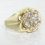 Beautiful Vintage Estate Ladies 14K Yellow Gold Round Diamond Cluster Ring