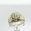 Beautiful Vintage Estate Ladies 14K Yellow Gold Round Diamond Cluster Ring