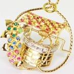 Dazzling 14K Yellow Gold Diamond Color Gem Stone Wishing Well Pendant Pin