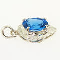 Dazzling Ladies 14K White Gold Blue Oval Topaz Dangling Pendant
