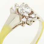 Elegant Ladies Vintage 10K Yellow Gold Round Diamond Cluster Ring