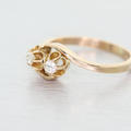 Dazzling Ladies Vintage 14K Yellow Gold Round Diamond Flower Designed Ring