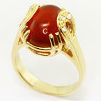 Dazzling Ladies Vintage 18K Yellow Gold Cabochon Garnet Diamond Ring