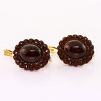 Dazzling Ladies 14K Rose Gold Stainless Steel Cabochon Garnet Earrings