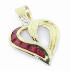 Dazzling Ladies Vintage 10K Yellow Ruby Diamond Heart Shaped Pendant