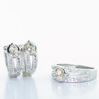 Spectacular Ladies 14K White Gold Round Diamond Engagement Ring Earring Set