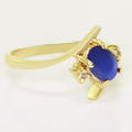 Dazzling Ladies 10K Yellow Gold Cabochon Star Sapphire Diamond Ring