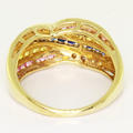 Spectacular Ladies 14K Yellow Gold Pink Blue Yellow Sapphires Anniversary Band