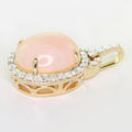 Beautiful Ladies 10K Rose Gold Pink Quartz Round Diamond Pendant