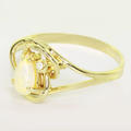 Beautiful Ladies 14K Yellow Gold Pear Shape Fire Opal Diamond Ring