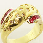 Ravishing Ladies 14K Yellow Gold Round Diamond Ruby Snake Style Ring