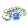 Dazzling Ladies 10K White Gold Cushion Topaz Diamond Pendant Silver 925 Necklace