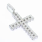 Stunning Vintage 10K White Gold Round Diamond Cross Pendant