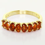 Stunning Ladies 14K Yellow Gold U Prong Half Eternity Garnet Ring Band